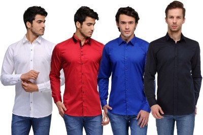 Feed Up Men's Solid Casual White, Red, Blue, Dark Blue Shirt
