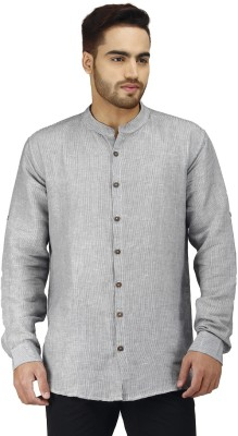 Prakum Men's Striped Casual Grey Shirt