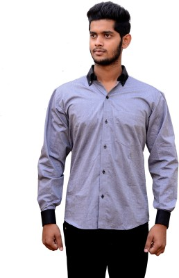 Signore Men's Solid Formal Grey, Blue Shirt