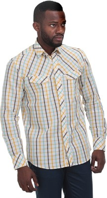 Fash-A-Holic Men,s Checkered Casual Orange Shirt