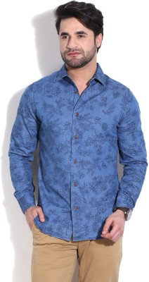 United Colors of Benetton Men's Floral Print Casual Blue Shirt