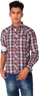 Blacksoul Men's Checkered Casual Maroon Shirt
