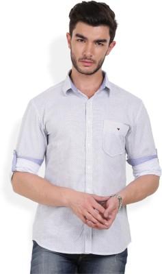 Bay Ridge Men's Printed Casual White Shirt
