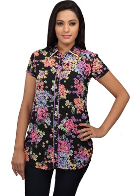 Lol Women's Floral Print Casual Black Shirt