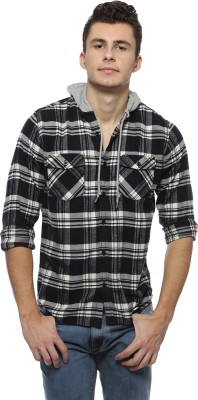 Derby Jeans Community Men's Checkered Casual Black Shirt