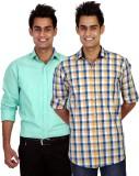 TGM Men's Checkered Casual Multicolor Sh...