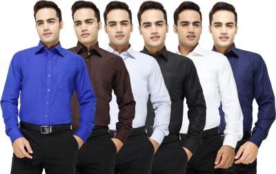Yuva Men's Solid Formal Blue, Brown, Light Blue, Black, White, Dark Blue Shirt