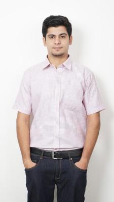 Frissk Men's Checkered Formal Pink Shirt