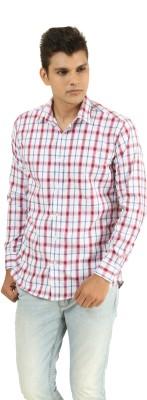 Frissk Men's Checkered Casual Maroon, Blue, White Shirt