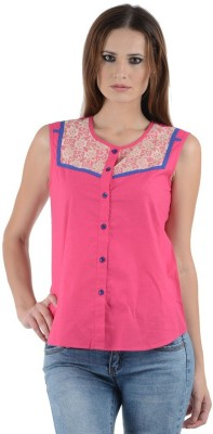 1 For Me Women's Solid Casual Pink Shirt