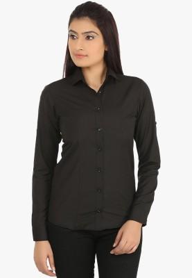 Fashion Cult Women's Solid Casual Black Shirt
