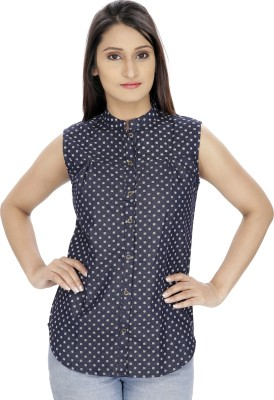 Franclo Women's Solid Casual Denim Blue Shirt