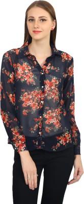 Zayn Women's Floral Print Casual Black Shirt