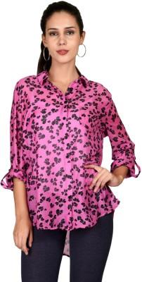 Curvy Q Women's Printed Casual Pink Shirt