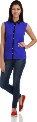 Bhane Women's Solid Casual Blue Shirt