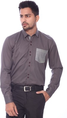 Roger Clothier Men's Solid Casual Brown Shirt