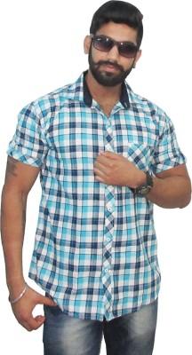 Neptune Men's Self Design Casual Blue Shirt