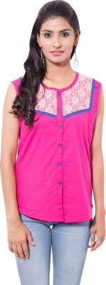 Viba London Women's Embroidered Casual Pink Shirt