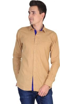 FUEGO Men's Solid Casual Orange Shirt