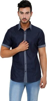 See Designs Men's Solid Casual Reversible Black Shirt