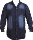 Zedx Men's Solid Casual Dark Blue Shirt