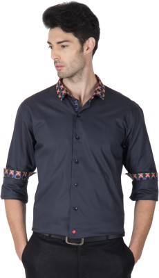 Roar and Growl Men,s Solid Casual Black Shirt
