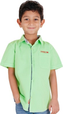 Biker Boys Boy's Striped Casual Green Shirt