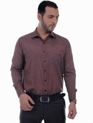 Zeal Mens Striped Formal Maroon, White Shirt