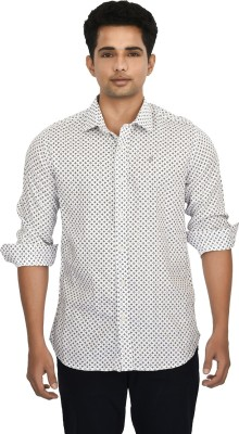 Hackensack Men's Printed Casual White Shirt