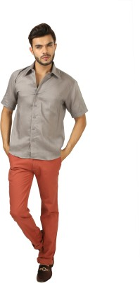 koutons outlaw Men's Solid Formal Linen Grey Shirt