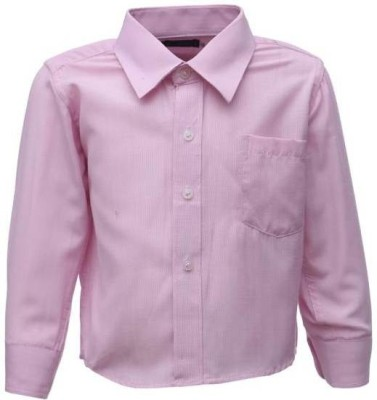 Sheena Boy's Solid Party Pink Shirt