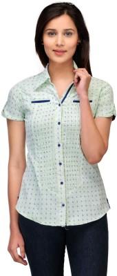 Fashion Cult Women's Printed Casual Green Shirt