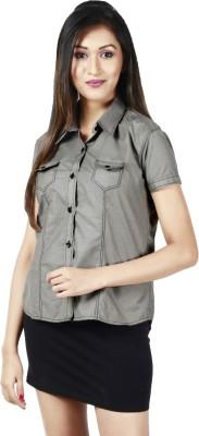 Faireno Women's Solid Casual Grey Shirt