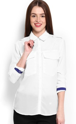HRX by Hrithik Roshan Women,s Solid Casual White Shirt
