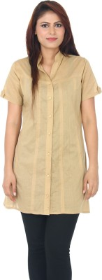 Auraori Womens Solid Casual Beige Shirt