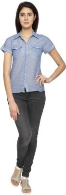 Texco Garments Women's Striped Casual Blue Shirt