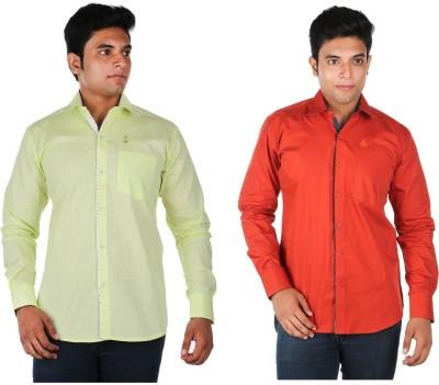 Relish Men's Solid Casual Light Green, Orange Shirt
