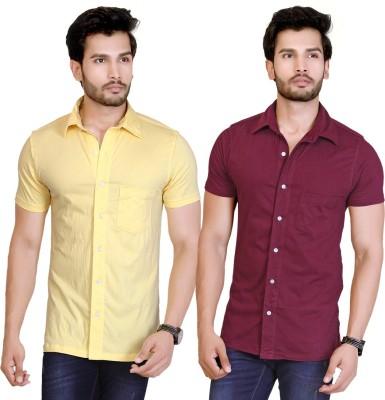 LUCfashion Men's Solid Casual Yellow, Maroon Shirt