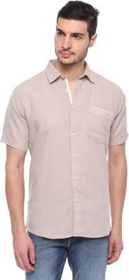 FERROUS Men's Solid Casual Brown Shirt