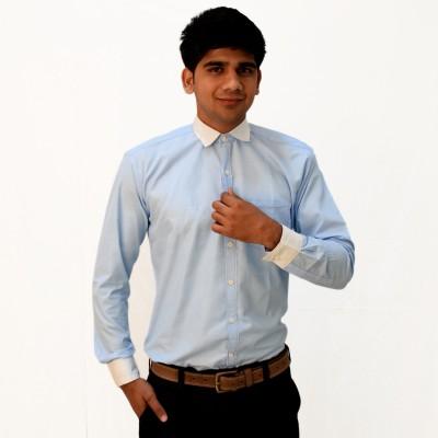 Broom Clothings Men's Solid Formal Blue Shirt