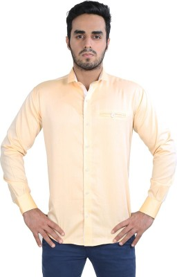 Just Differ Men's Solid Casual Orange, White Shirt
