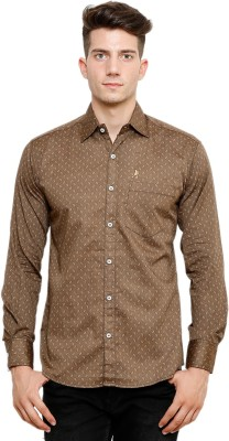 Ebry Men's Printed Casual Brown Shirt