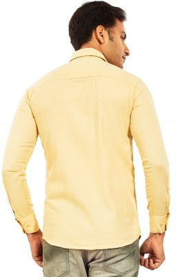 Trinath Men's Self Design Casual Yellow Shirt