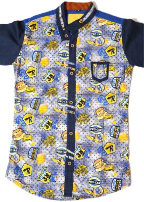 Kidicious Boy's Printed Casual Blue, Yellow, White Shirt