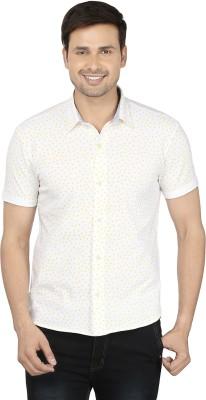 Ruse Men's Printed Casual White, Yellow Shirt