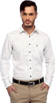 FRANK JEFFERSON Men's Printed Party White Shirt