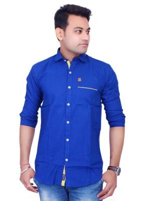 La Milano Men's Solid Casual Blue Shirt