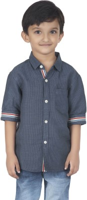 SuperYoung Boy's Striped Casual Dark Blue Shirt