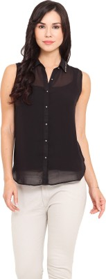 La Stella Women's Solid Casual Black Shirt