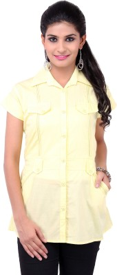 VV Passion Women's Solid Casual Yellow Shirt